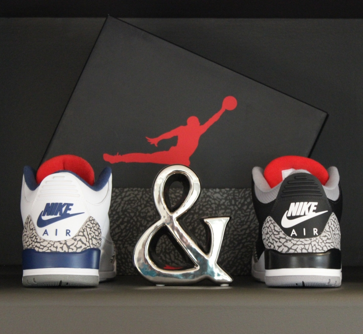 True Blue and Black Cement Jordan 3s
